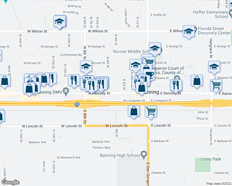 map of restaurants, bars, coffee shops, grocery stores, and more near W Ramsey St & N 4th St in Banning