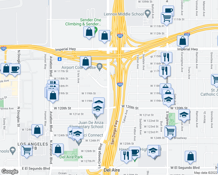 map of restaurants, bars, coffee shops, grocery stores, and more near S La Cienega Blvd & Pacific Concourse Dr in Inglewood