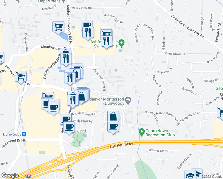 map of restaurants, bars, coffee shops, grocery stores, and more near 100 Perimeter Trce E in Atlanta