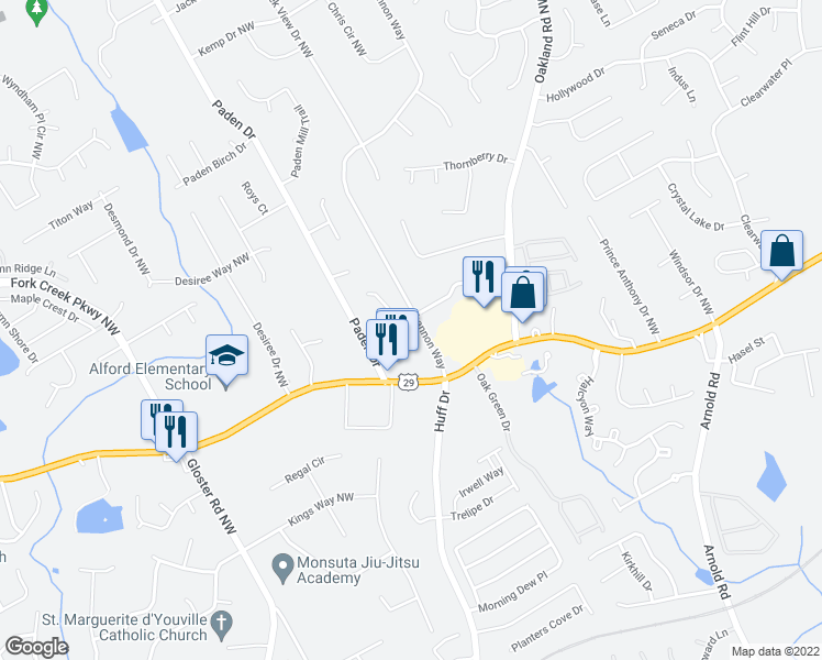 map of restaurants, bars, coffee shops, grocery stores, and more near 283-389 Shannon Way in Lawrenceville
