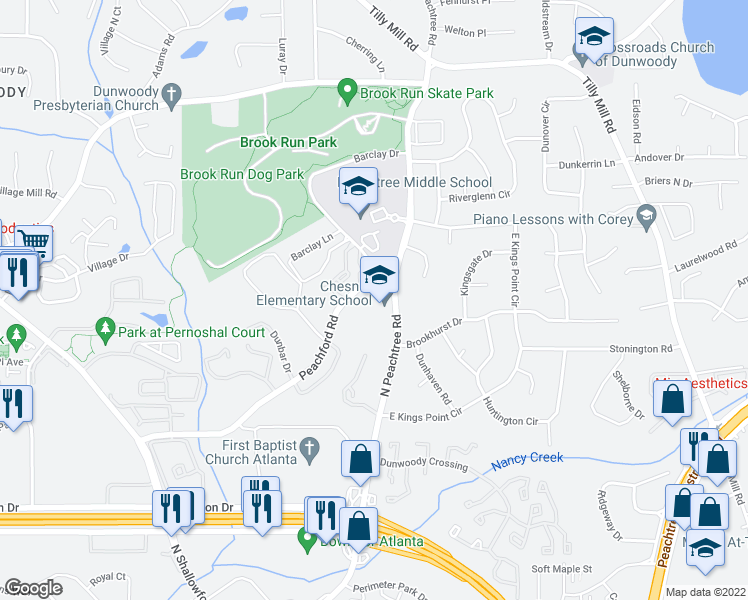 map of restaurants, bars, coffee shops, grocery stores, and more near 2323-2339 Peachford Road in Dunwoody