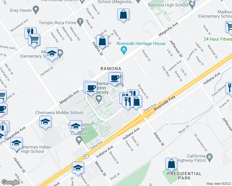 map of restaurants, bars, coffee shops, grocery stores, and more near 3622 Adams St in Riverside