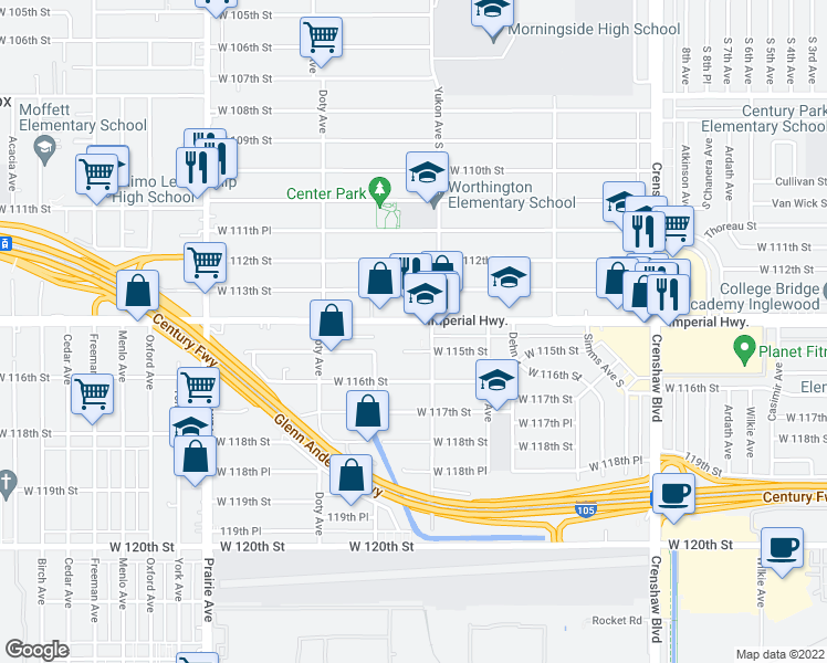 map of restaurants, bars, coffee shops, grocery stores, and more near 3699 West 115th Street in Inglewood