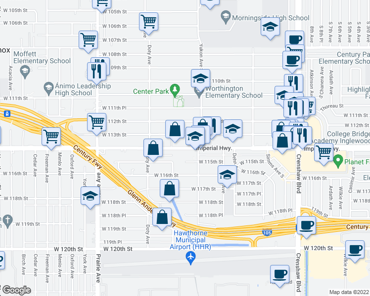 map of restaurants, bars, coffee shops, grocery stores, and more near 3638 W 113th St in Inglewood