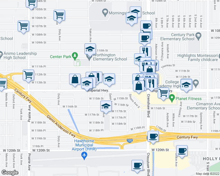 map of restaurants, bars, coffee shops, grocery stores, and more near 3405 W Imperial Hwy in Inglewood