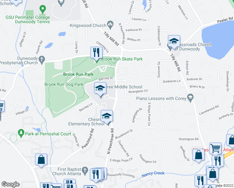 map of restaurants, bars, coffee shops, grocery stores, and more near 4606 Ellisbury Dr in Dunwoody