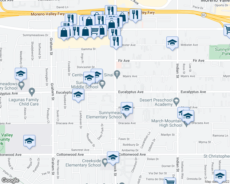 map of restaurants, bars, coffee shops, grocery stores, and more near Heacock St & Eucalyptus Ave in Moreno Valley