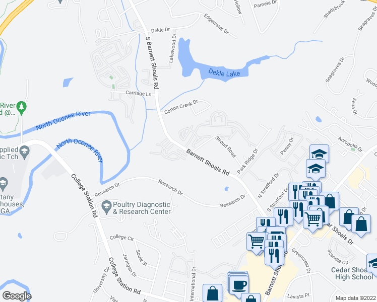 map of restaurants, bars, coffee shops, grocery stores, and more near 1190 Barnett Shoals Road in Athens
