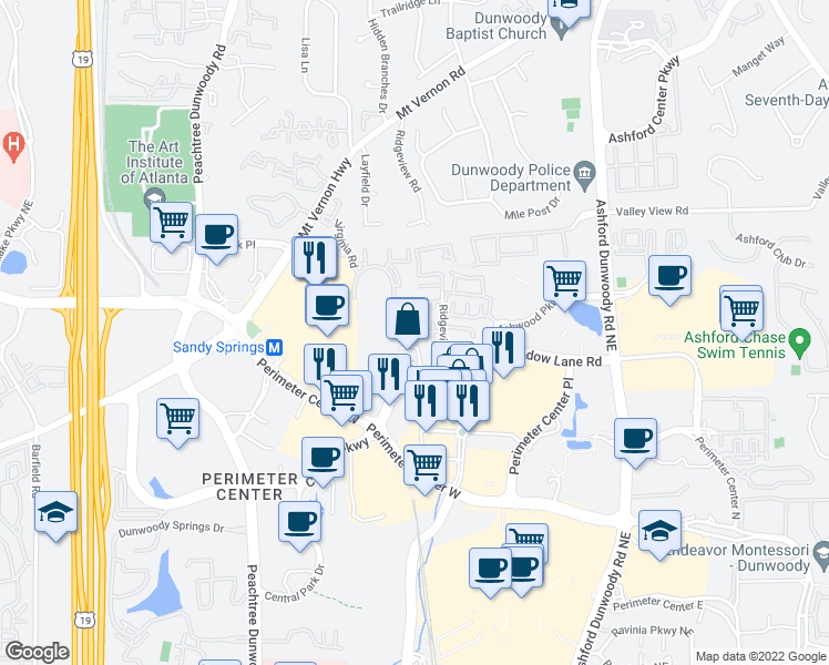 map of restaurants, bars, coffee shops, grocery stores, and more near Perimeter Walk in Dunwoody
