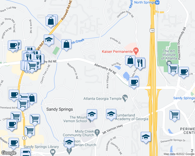 map of restaurants, bars, coffee shops, grocery stores, and more near 785 Glengate Place in Atlanta