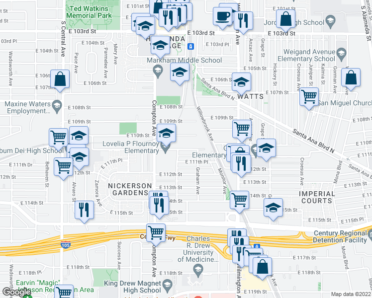 map of restaurants, bars, coffee shops, grocery stores, and more near 1669 East 111th Street in Los Angeles