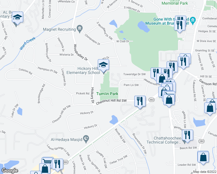 map of restaurants, bars, coffee shops, grocery stores, and more near 317-399 Cabaret Court in Marietta