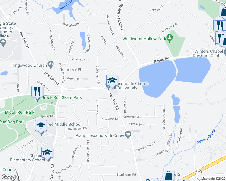 map of restaurants, bars, coffee shops, grocery stores, and more near 4805 Tilly Mill Road in Doraville