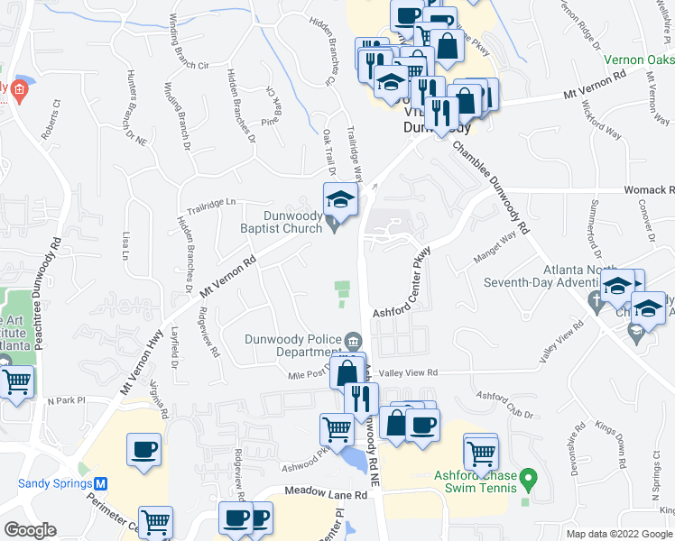 map of restaurants, bars, coffee shops, grocery stores, and more near 1445 Mt Vernon Rd in Dunwoody