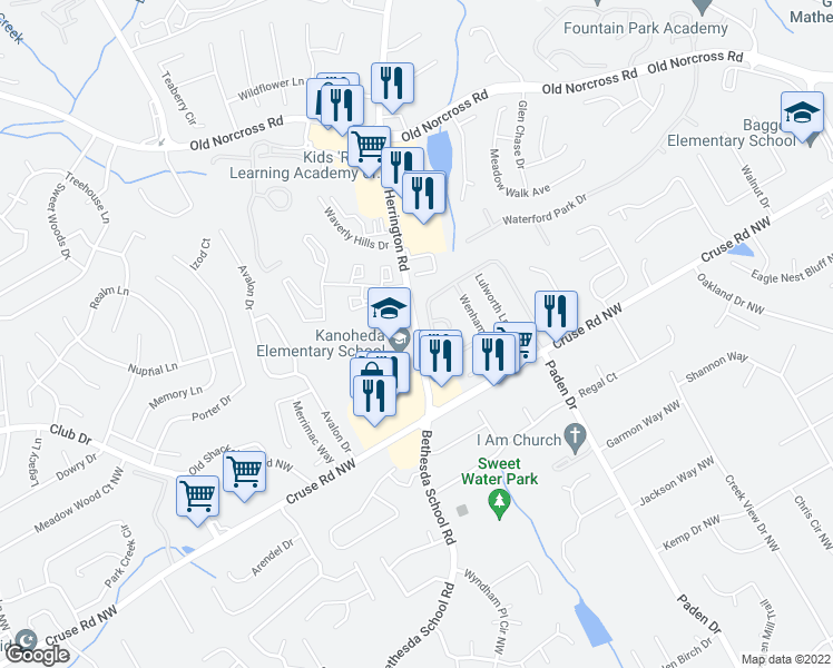 map of restaurants, bars, coffee shops, grocery stores, and more near 2687-2735 Binghampton Lane in Lawrenceville