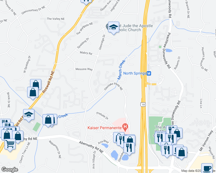 map of restaurants, bars, coffee shops, grocery stores, and more near 6901 Glenlake Pkwy NE in Atlanta