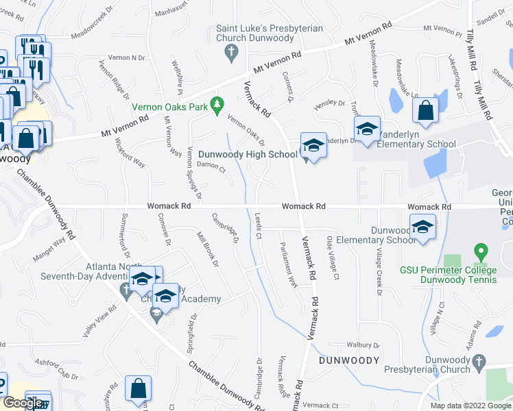 map of restaurants, bars, coffee shops, grocery stores, and more near Womack Rd & Leeds Ct in Dunwoody