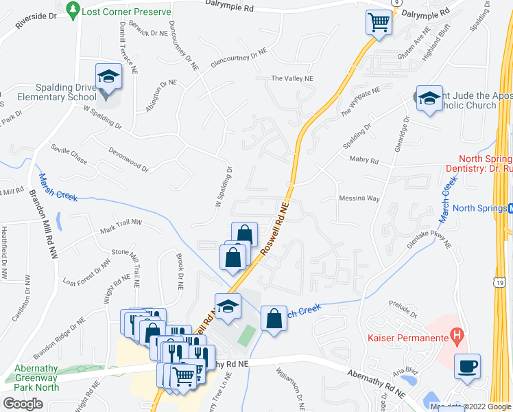 map of restaurants, bars, coffee shops, grocery stores, and more near 6940 Roswell Rd NE in Atlanta