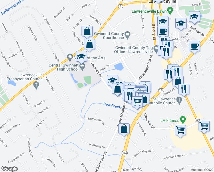 map of restaurants, bars, coffee shops, grocery stores, and more near 170-198 Gwinnett Drive in Lawrenceville