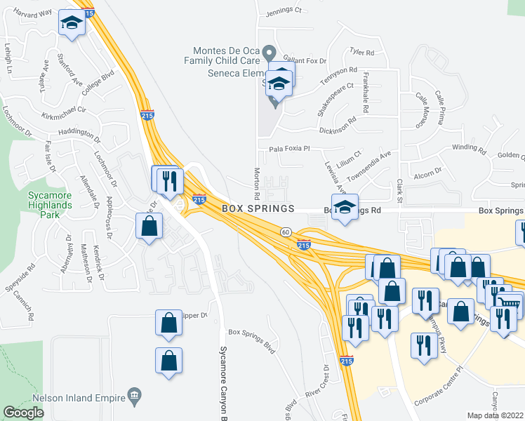 map of restaurants, bars, coffee shops, grocery stores, and more near 21025 Box Springs Rd in Moreno Valley