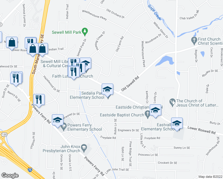 map of restaurants, bars, coffee shops, grocery stores, and more near 2213 Lower Roswell Road in Marietta