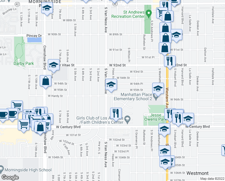 map of restaurants, bars, coffee shops, grocery stores, and more near 9521 Haas Ave in Los Angeles