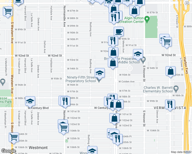 map of restaurants, bars, coffee shops, grocery stores, and more near 1131 West 95th Street in Los Angeles