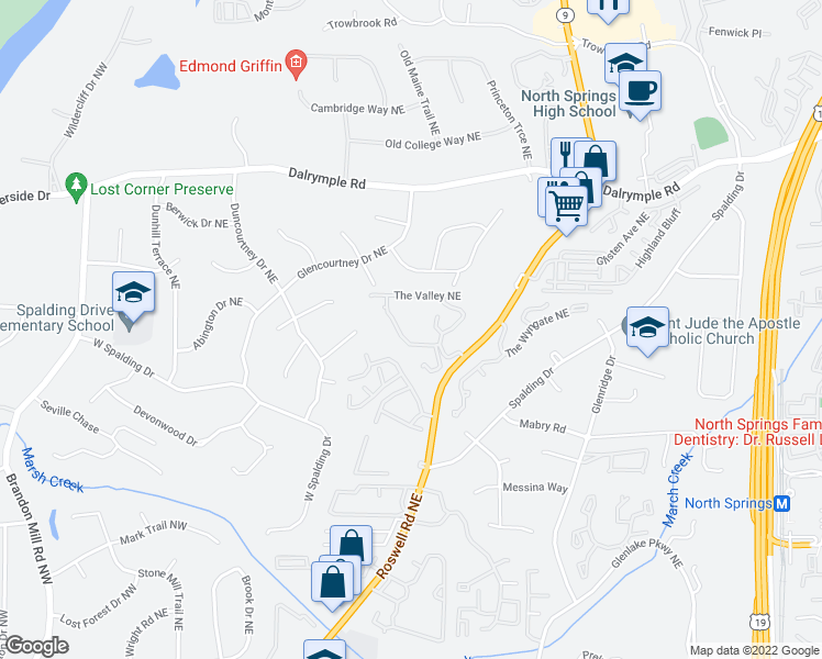 map of restaurants, bars, coffee shops, grocery stores, and more near 7100 Roswell Rd NE in Sandy Springs