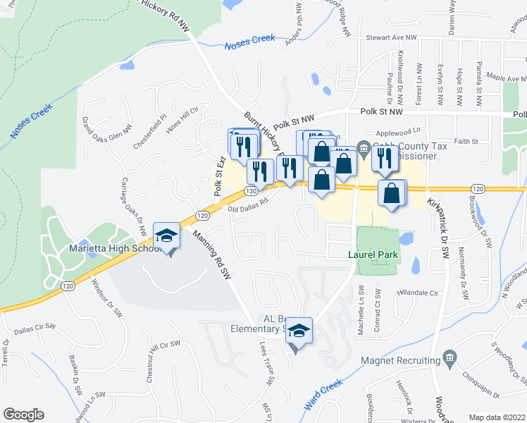 map of restaurants, bars, coffee shops, grocery stores, and more near 1025 Old Dallas Road in Marietta