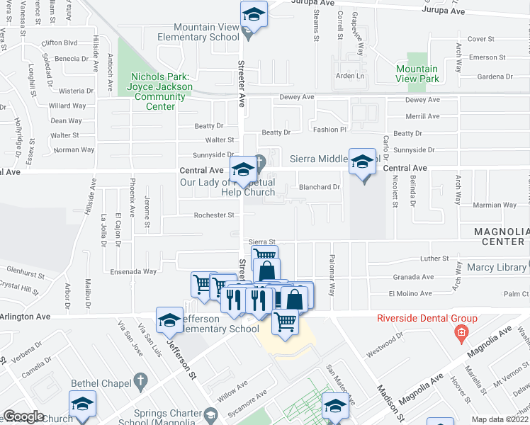 map of restaurants, bars, coffee shops, grocery stores, and more near 6730 Streeter Ave in Riverside