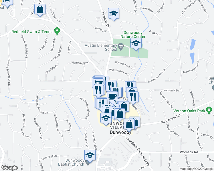 map of restaurants, bars, coffee shops, grocery stores, and more near 1321 Wyntercreek Rd in Dunwoody
