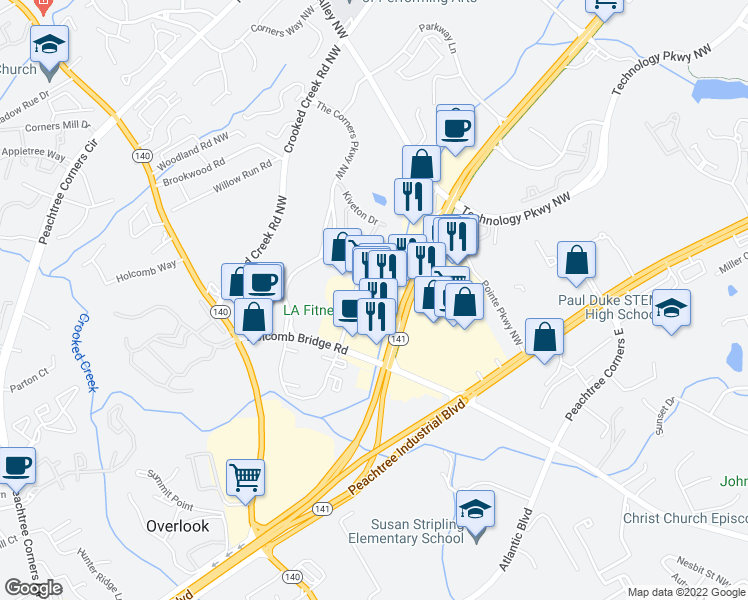 map of restaurants, bars, coffee shops, grocery stores, and more near 6135 Peachtree Parkway in Norcross