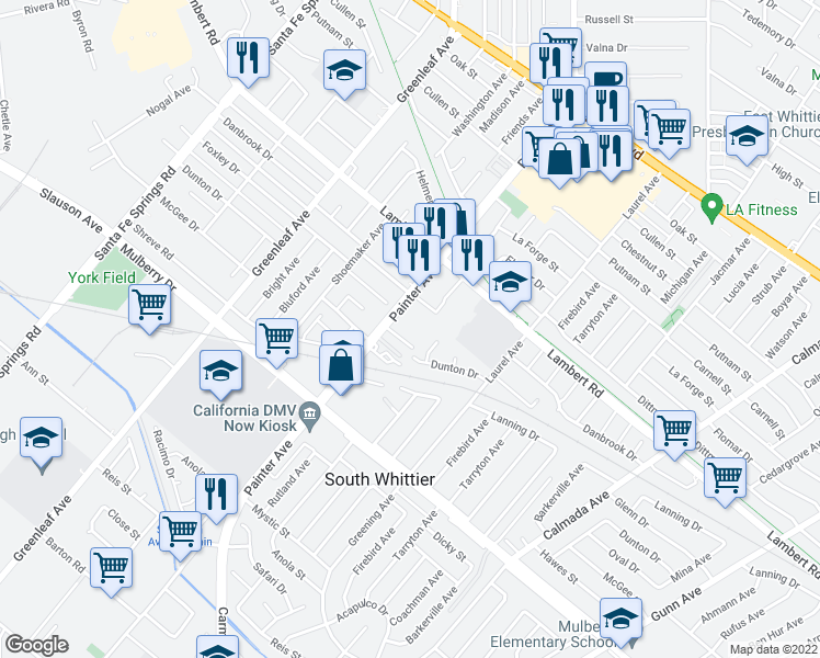 map of restaurants, bars, coffee shops, grocery stores, and more near 9006 Painter Ave in Whittier