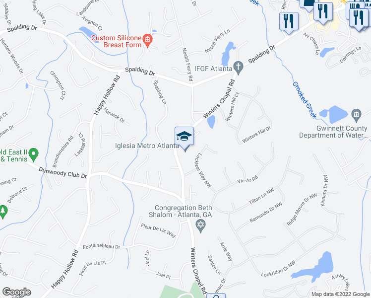 map of restaurants, bars, coffee shops, grocery stores, and more near 6840 Chapel Glen Court in Atlanta