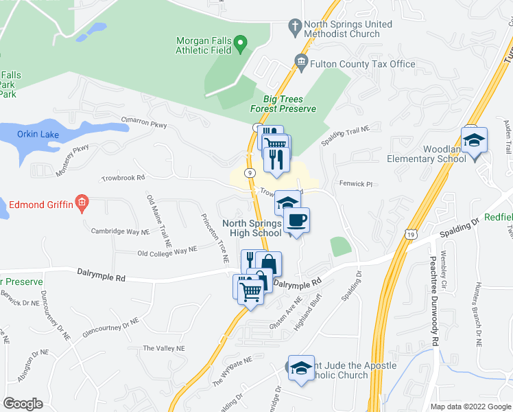 map of restaurants, bars, coffee shops, grocery stores, and more near in Sandy Springs