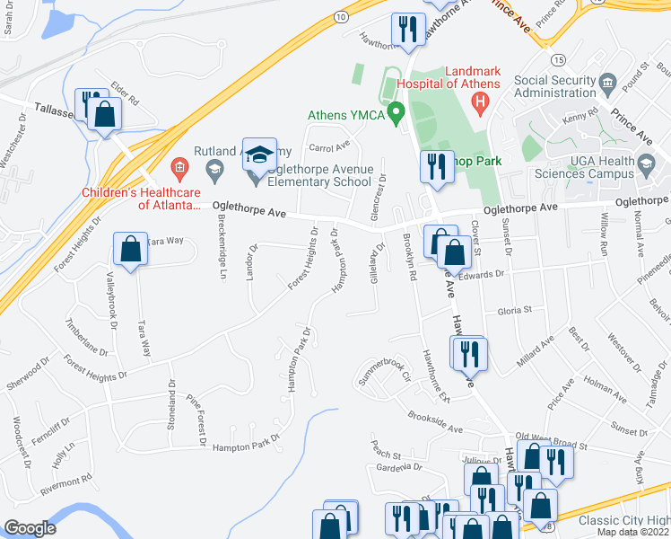 map of restaurants, bars, coffee shops, grocery stores, and more near 125 Hampton Park Drive in Athens