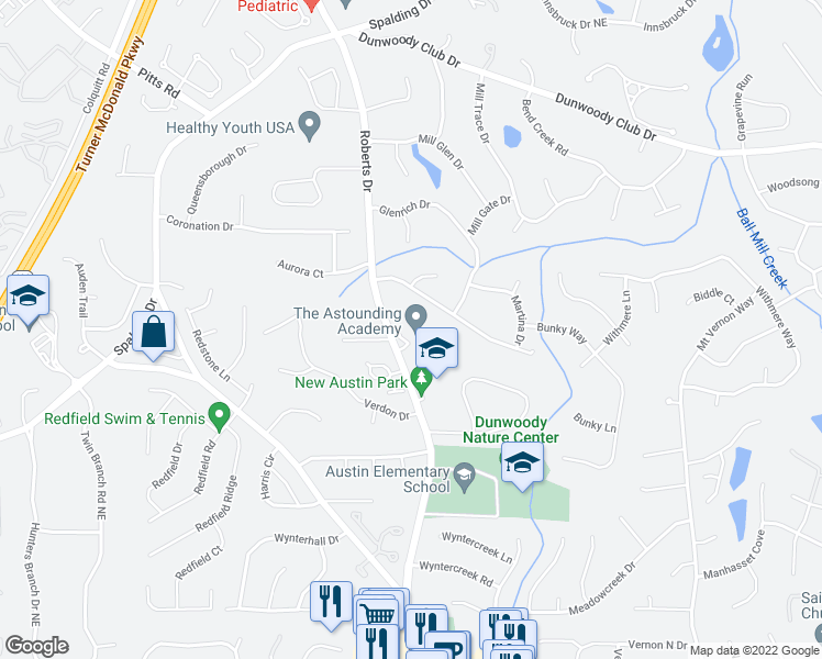 map of restaurants, bars, coffee shops, grocery stores, and more near 1285 Witham Dr in Dunwoody