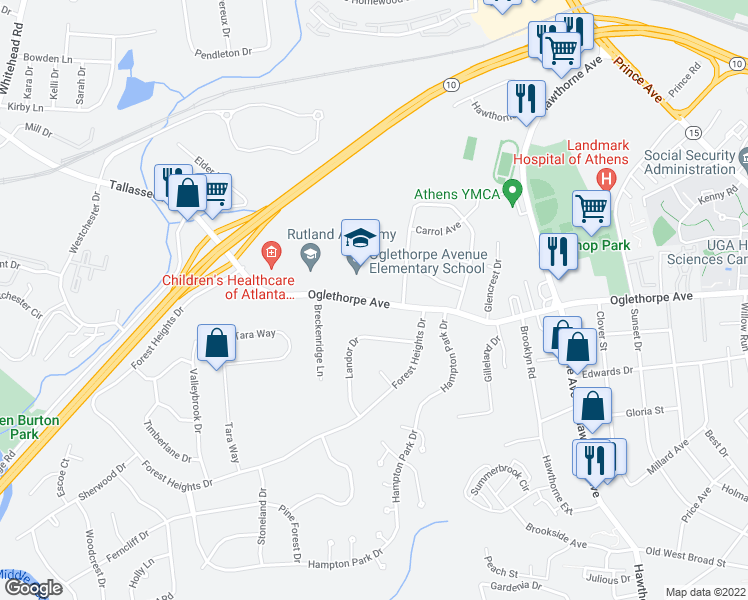map of restaurants, bars, coffee shops, grocery stores, and more near 470 Knottingham Dr in Athens