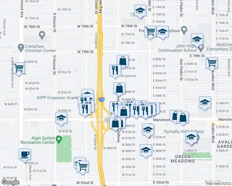 map of restaurants, bars, coffee shops, grocery stores, and more near 8406 S Broadway in Los Angeles
