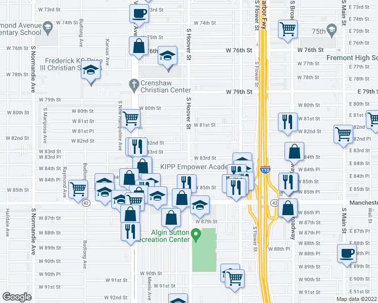 map of restaurants, bars, coffee shops, grocery stores, and more near S Hoover St & W 83rd St in Los Angeles