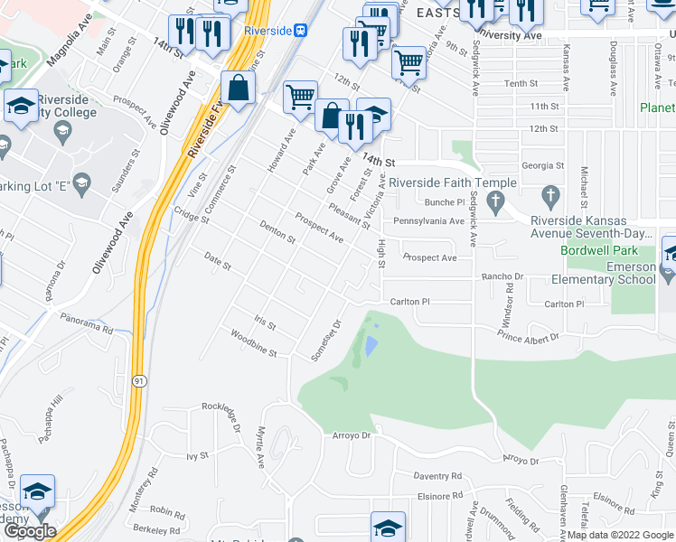 map of restaurants, bars, coffee shops, grocery stores, and more near 4660 Victoria Ave in Riverside