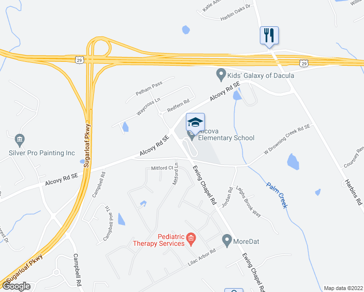 map of restaurants, bars, coffee shops, grocery stores, and more near 740-768 Ewing Chapel Road in Dacula