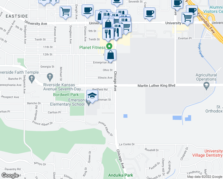 map of restaurants, bars, coffee shops, grocery stores, and more near Redfield Rd & Filson St in Riverside