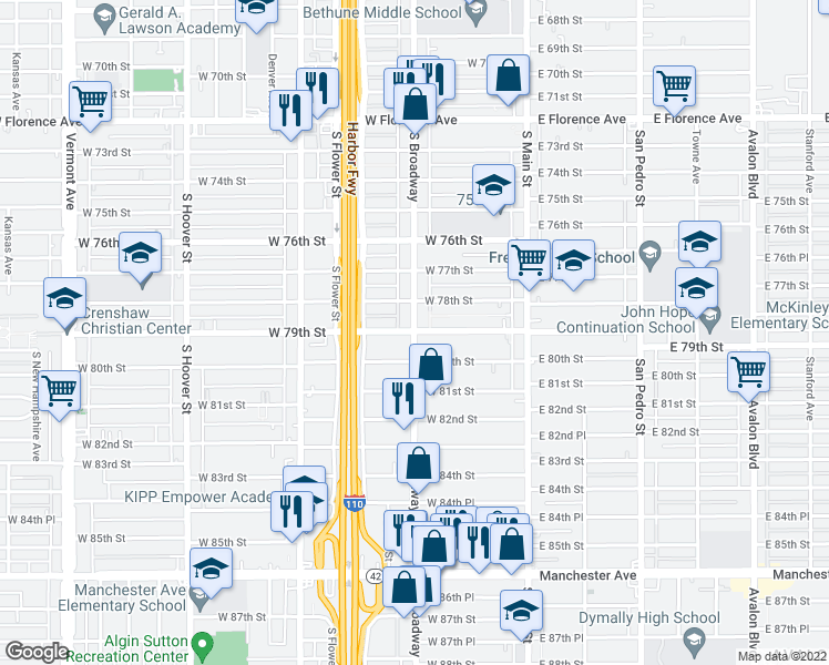 map of restaurants, bars, coffee shops, grocery stores, and more near 7912 South Broadway in Los Angeles