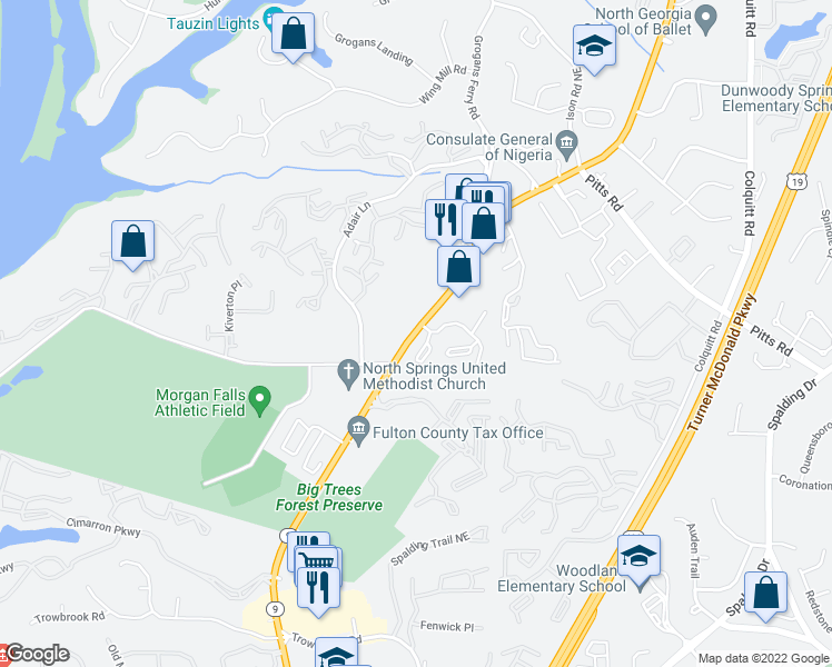 map of restaurants, bars, coffee shops, grocery stores, and more near 7840 Morgans Landing Drive in Sandy Springs