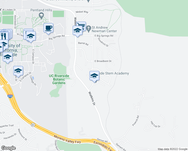 map of restaurants, bars, coffee shops, grocery stores, and more near 4350 Mt Vernon Ave in Riverside