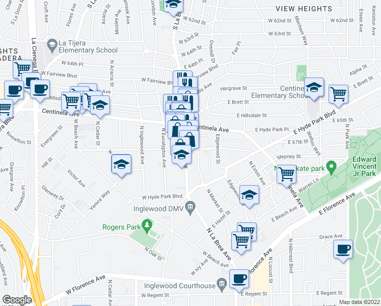 map of restaurants, bars, coffee shops, grocery stores, and more near 904 N La Brea Ave in Inglewood