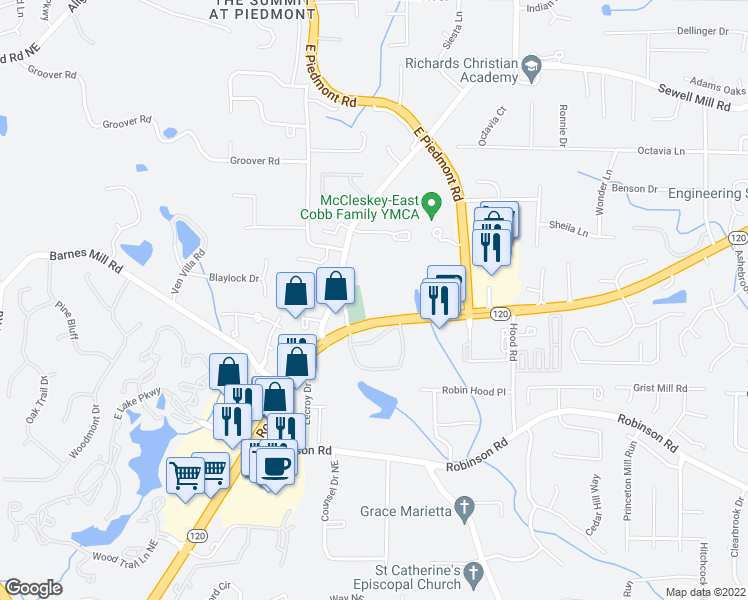 map of restaurants, bars, coffee shops, grocery stores, and more near 2325 Roswell Rd in Marietta