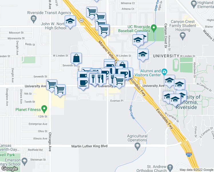 map of restaurants, bars, coffee shops, grocery stores, and more near University Avenue & Iowa Avenue in Riverside