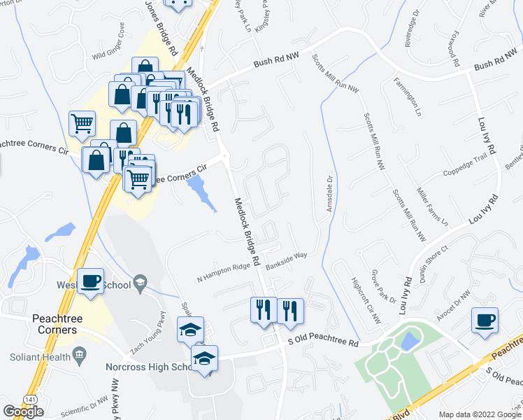 map of restaurants, bars, coffee shops, grocery stores, and more near 3456 Lockmed Drive Northwest